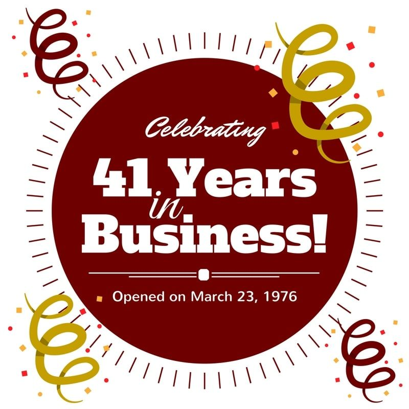 Celebrating 41 Years In Business This Year 2017 Anniversary
