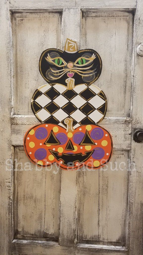 Halloween Door Hanger Stacked Pumpkin Door Hanger