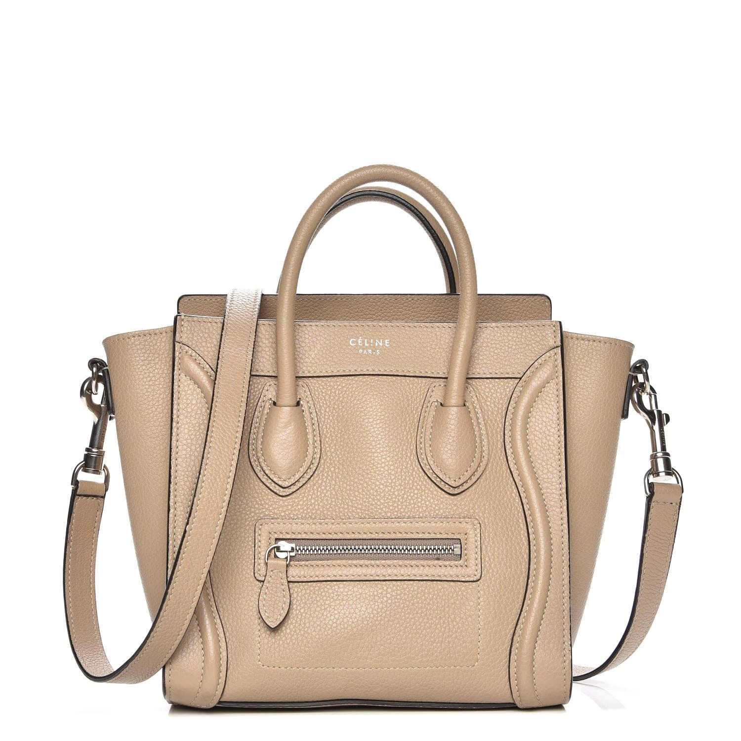 b2d13c8c6571 This is an CELINE Drummed Calfskin Nano Luggage in Dune. This stylish bag  is crafted