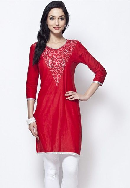Silver Embroidered Red Knee Length V Neck Cotton Kurta