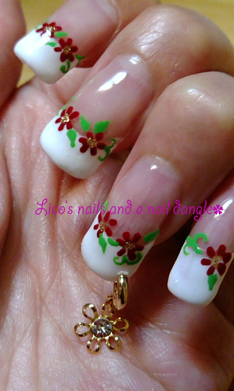 Gel nails - red flowers on french nails plus nail ring (nail dangle ...