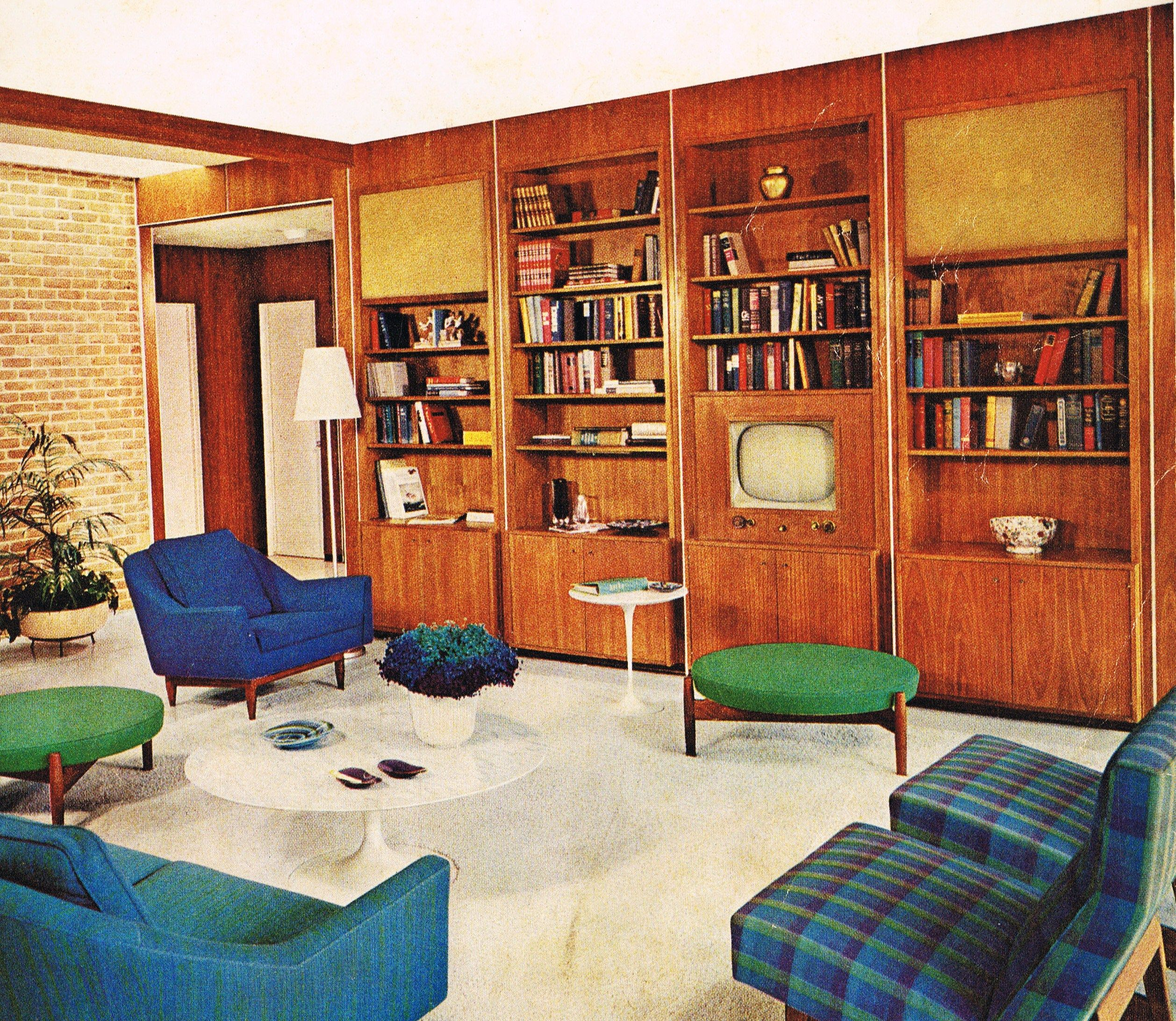 65 Cool Mid Century Living Room Decor Ideas: 60's Wall Unit With Built-in TV