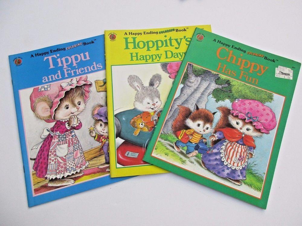 Vintage Happy Ending Coloring Book Lot 1980s Chippy Tippy Hoppity Unused Coloring Books Happy Endings Color
