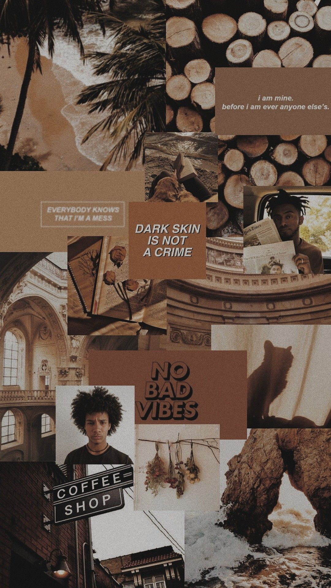 Color Brown Aesthetic Collage Lockscreen Marlonchagas Dinding