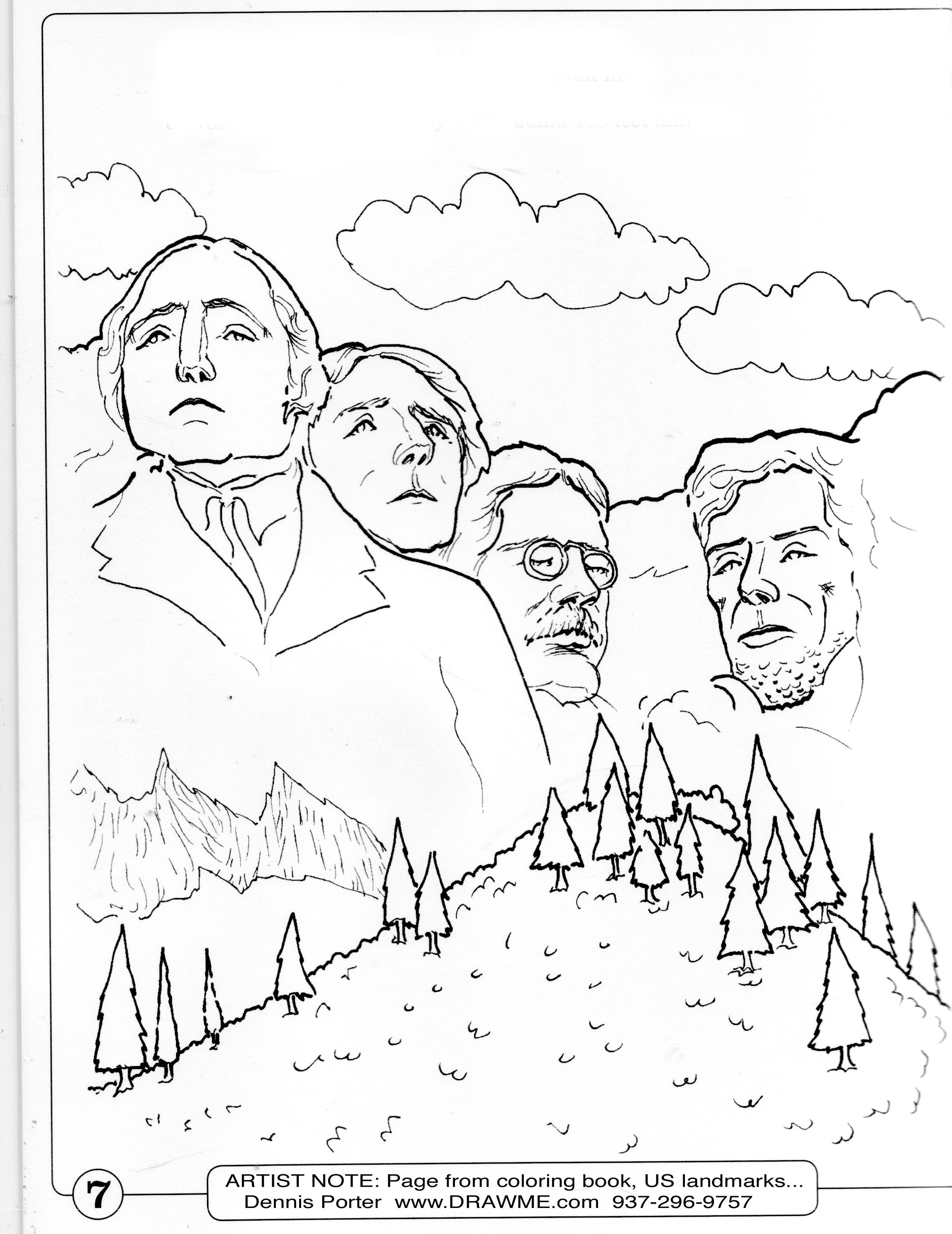 Mount Rushmore For A Coloring Book Caricature Sketch Caricature