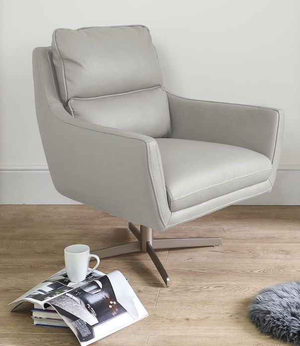 Modern Lounge Chairs Uk Aluminum Lawn Chair Tivani Leather Occasional Armchair In Cool Grey From Danetti Armchairs