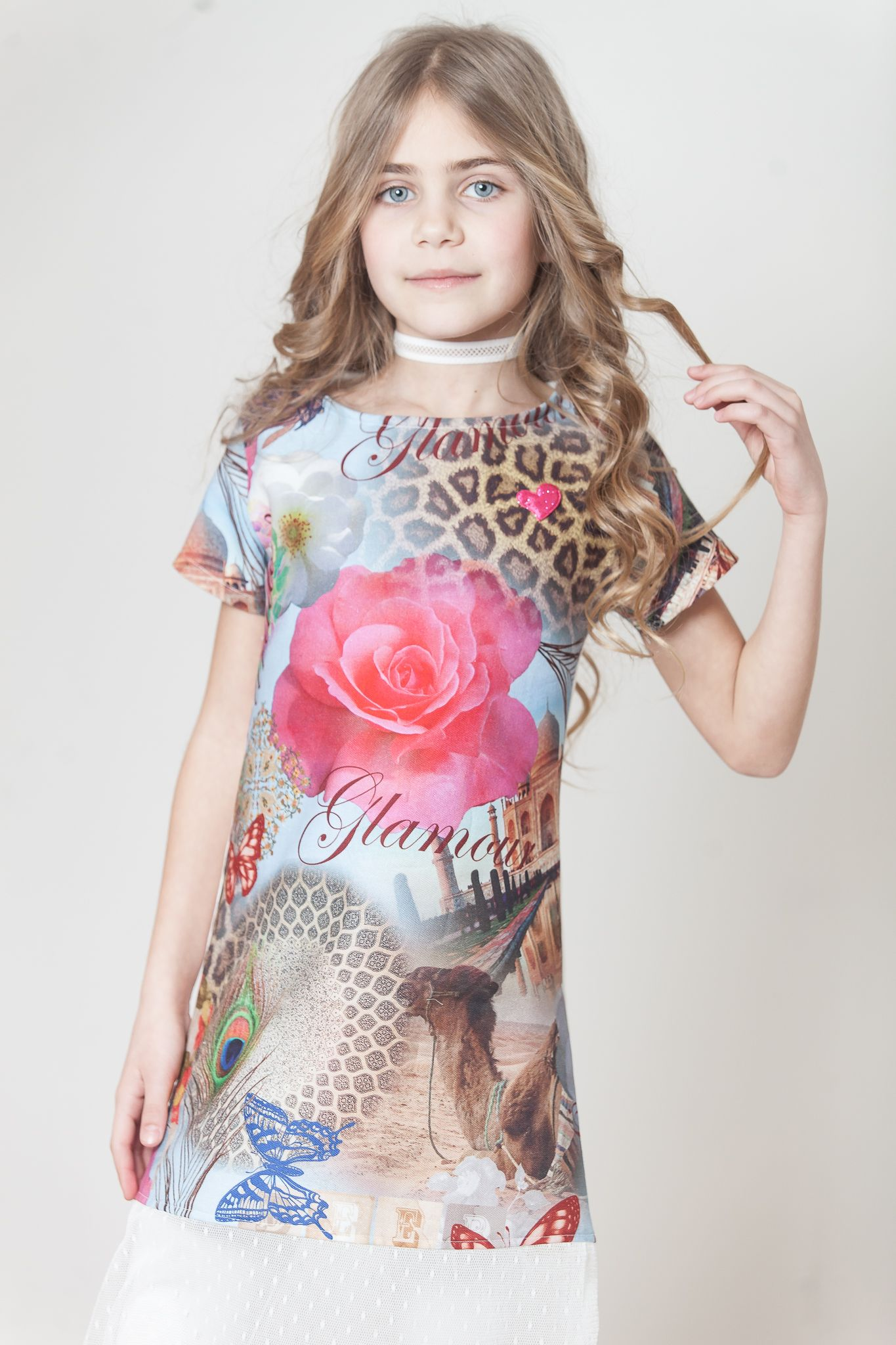 Dress usamu for kids girls with short sleeves cotton in jungle
