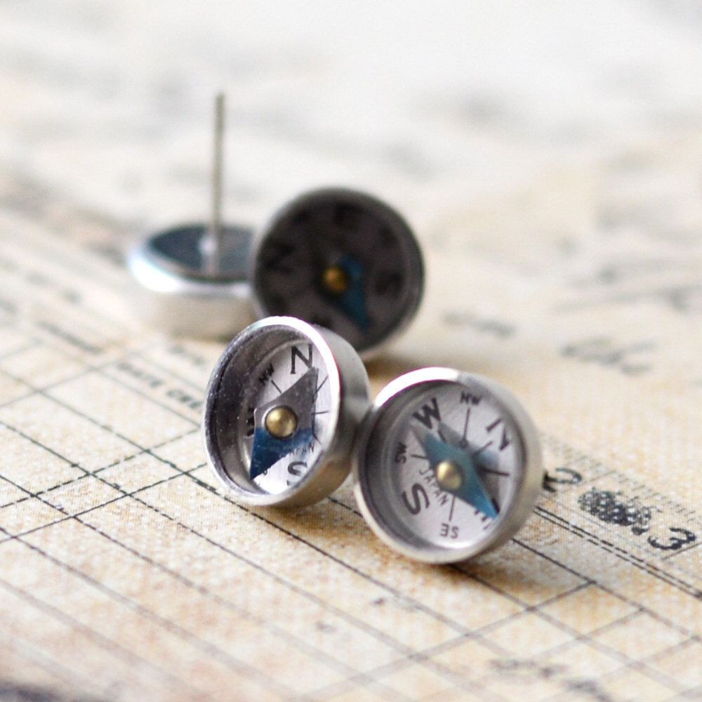 Photo of Working Compass Earrings, Surgical Steel Stud Earrings, Tiny Mini Compass Studs, Traveler Geek Tech Gift, Under 15 Dollars, Geek Nerd gift