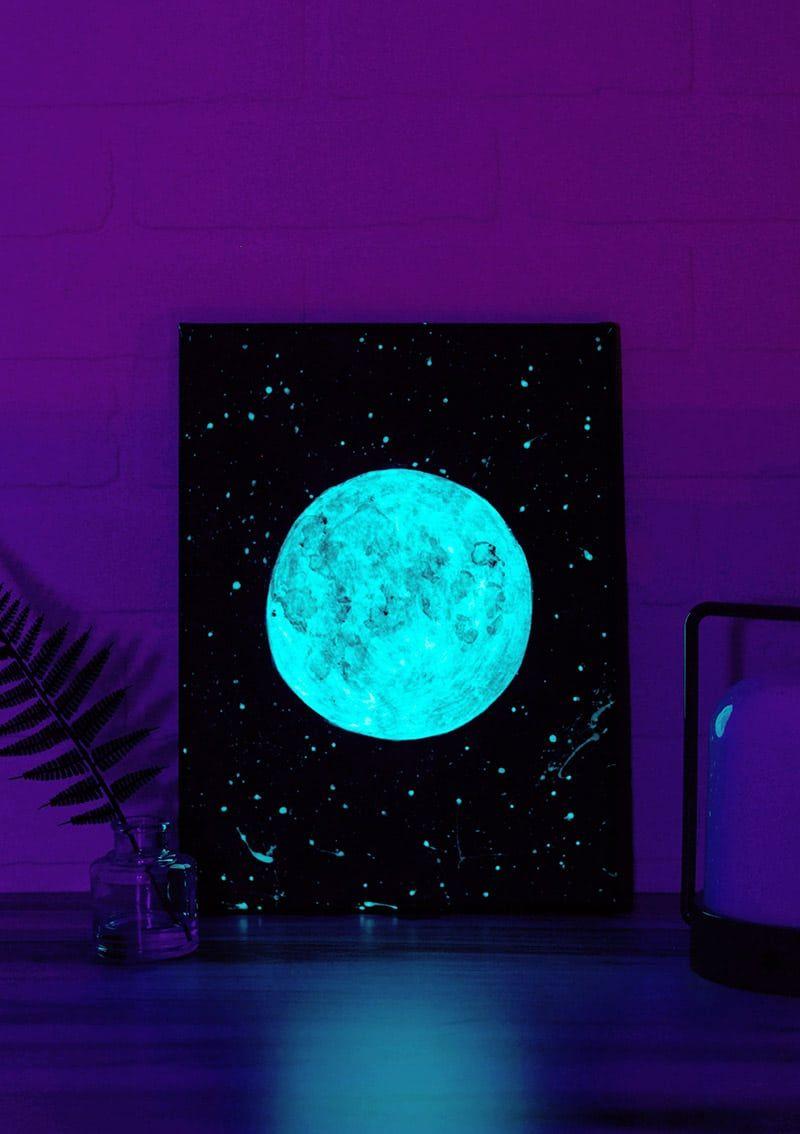 DIY Glow-In-The-Dark Moon Art Tutorial - Persia Lou in 2020   Glow in dark paint, Glowing art ...