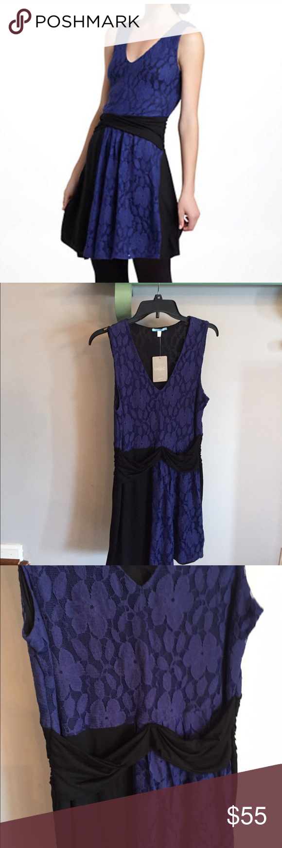 "•nwt• Leifnotes colorblock lace dress NWT lace colorblock dress. Royal blue lace against black jersey. Cross waist and drape front. Bust 17"". Stretchy waist 15.5"". Length 36"" Anthropologie Dresses"