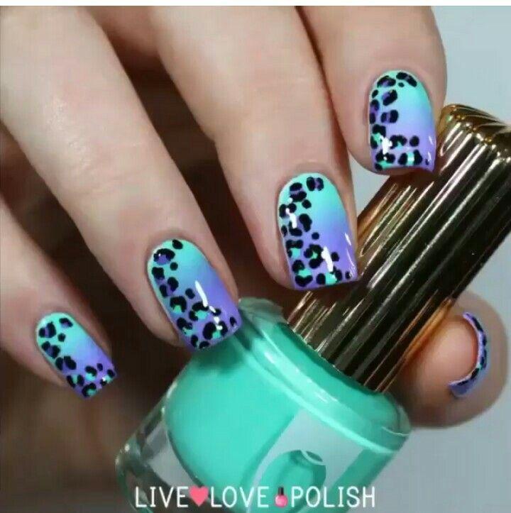 Unhas desenhadas, oncinha, azul, lilás, roxo, nails art animal