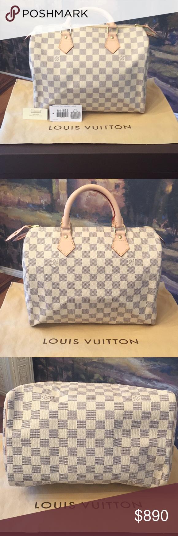 c893d770561 Louis Vuitton Damier Azur Speedy 30 Handbag Authentic LV Damier Azur ...
