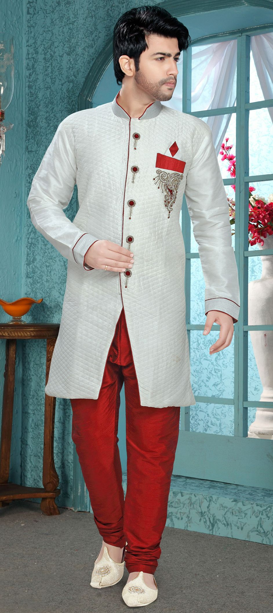 14704: Red and Maroon, White and Off White color family IndoWestern ...