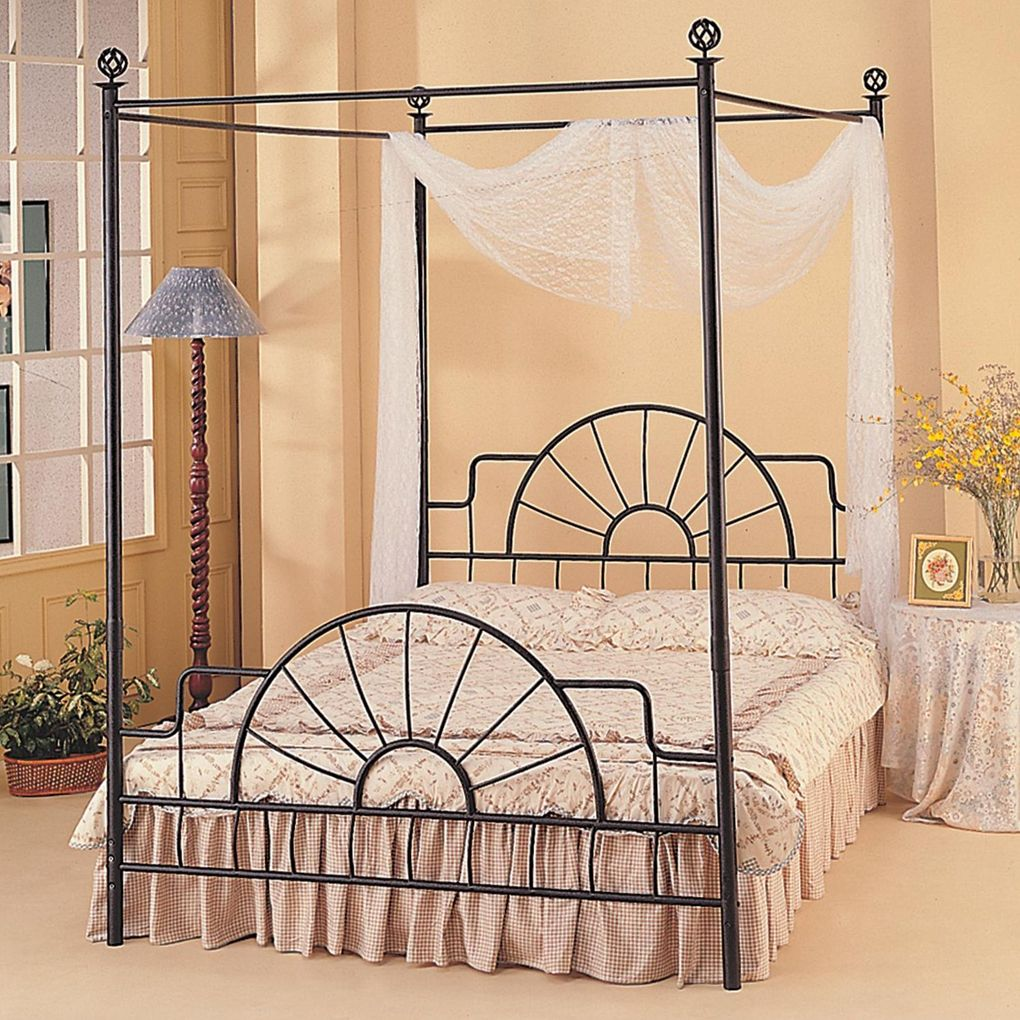 Illustration of Enjoy the Romantic Bedroom with an Iron Canopy Bed ...