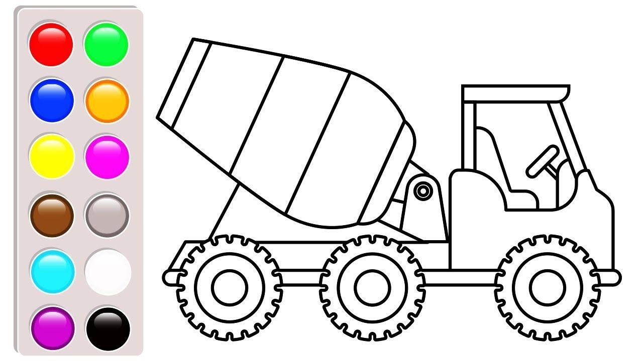 Colors Construction Truck Concrete Coloring Pages For Kids Vehic