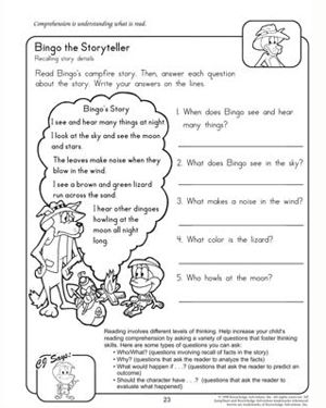 Worksheets Reading And Comprehension Worksheets For Grade 3 bingo the storyteller free reading comprehension worksheet for kids