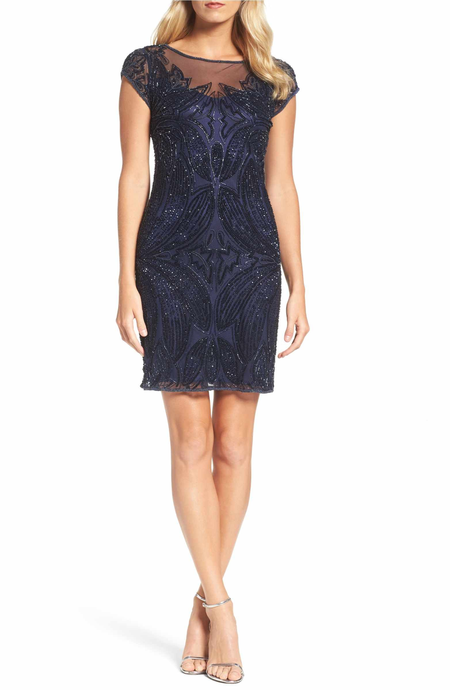 Beaded illusion yoke sheath dress illusions beads and nordstrom