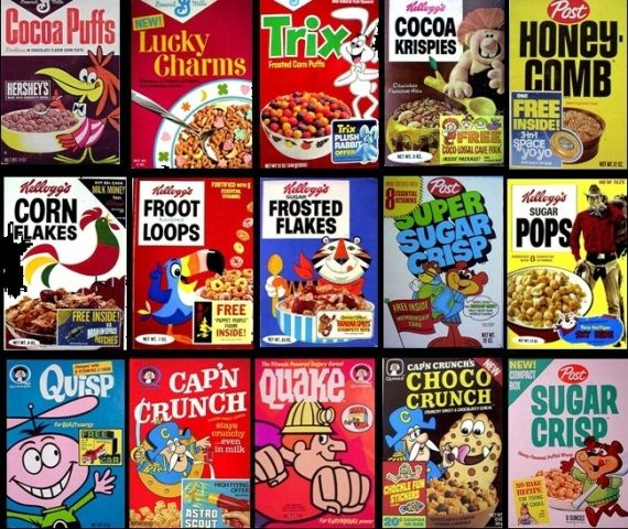 Sugary Cereals Featuring Characters And Prizes. Sugar Pops