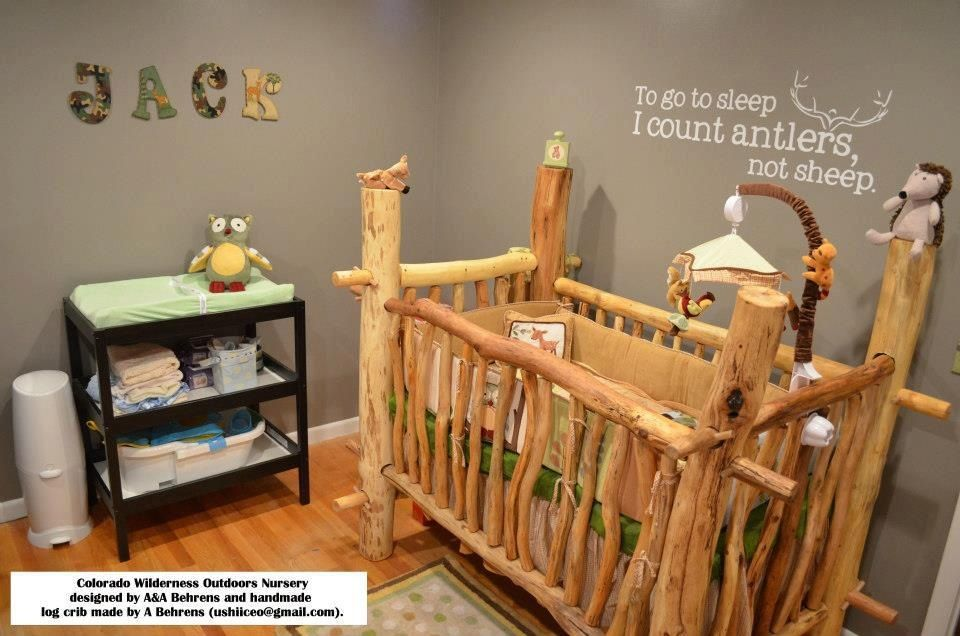 Love This Baby Crib It Would Match Our Log Cabin Bed And Theme Throughout Our House Baby Room Themes Nursery Outdoor Nursery
