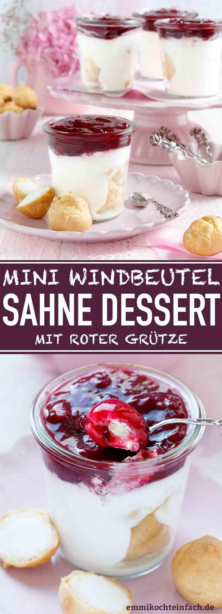 Mini-Windbeutel Sahnedessert mit roter Grütze #cremepuff