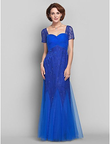 Sheath/Column Queen Anne Lace And Tulle  Dress (551472) - USD $ 199.99