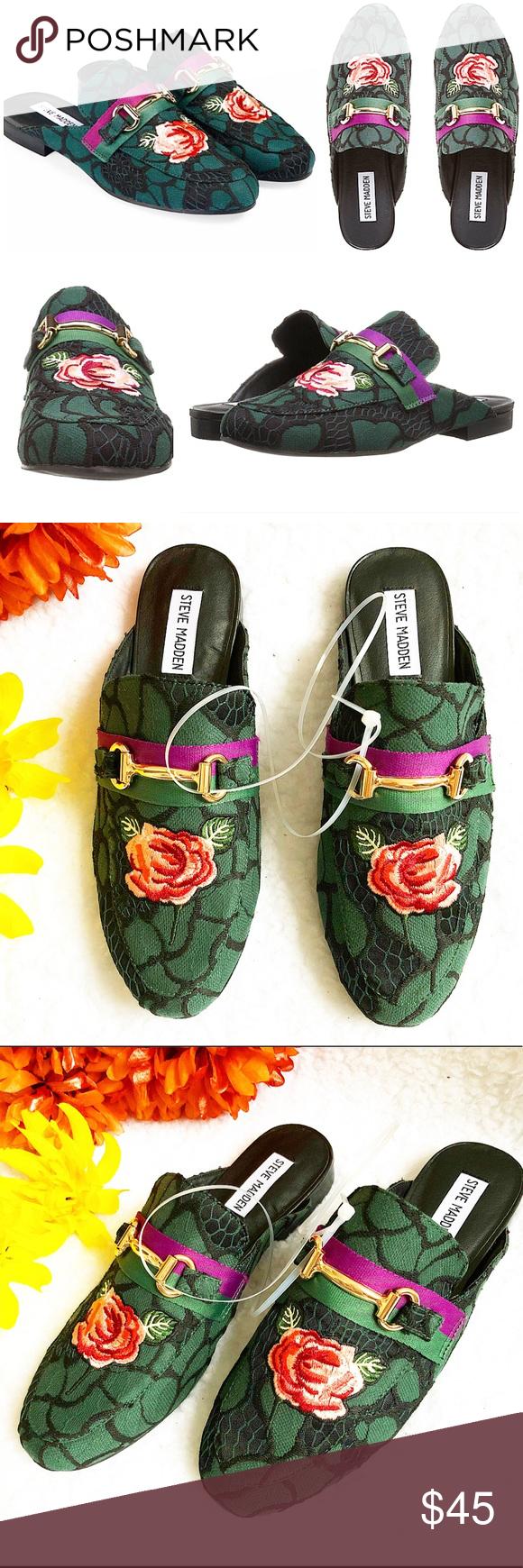 c703b5210c7 🆕Steve Madden Green Kandi Rose Mule Shoe Size 8.5 So versatile