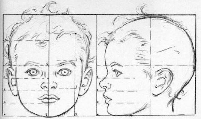 Dibujar Las Proporciones Del Rostro De Un Bebe O Nino Dibujar Rostros Aprender A Dibujar Rostros Como Dibujar Rostros Humanos