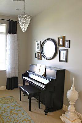 Love The Pics And Mirror Over The Piano Piano Room Decor Piano