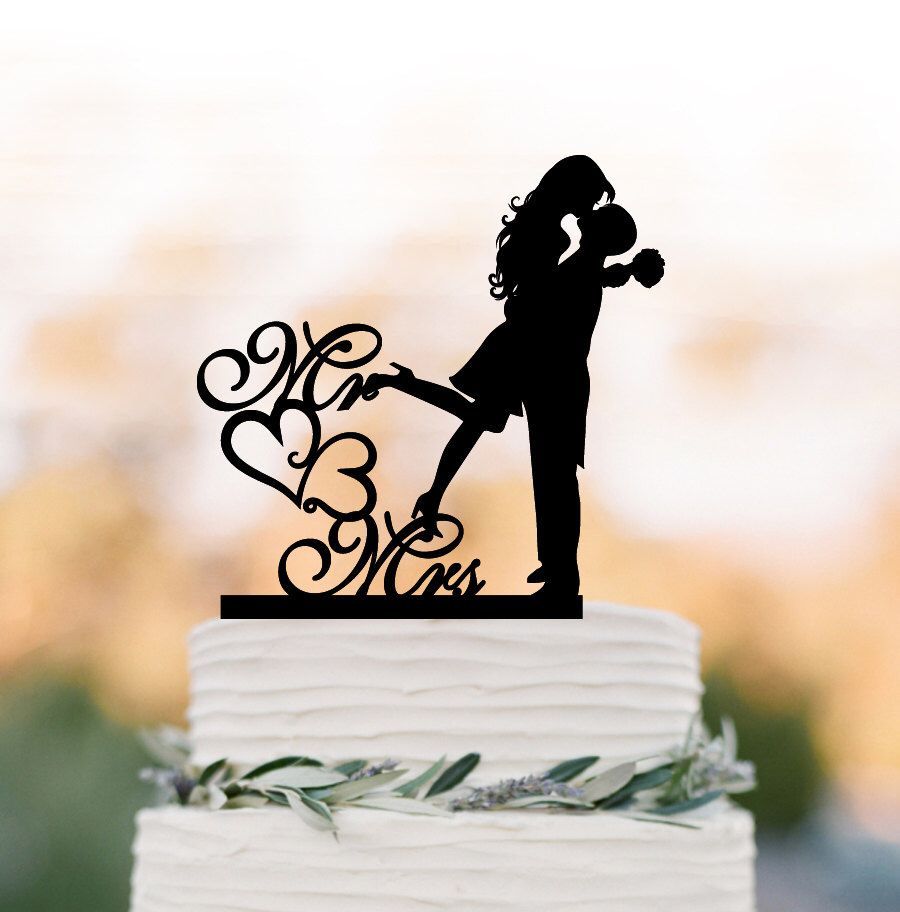 Mr and mrs wedding cake topper bride and groom silhouette