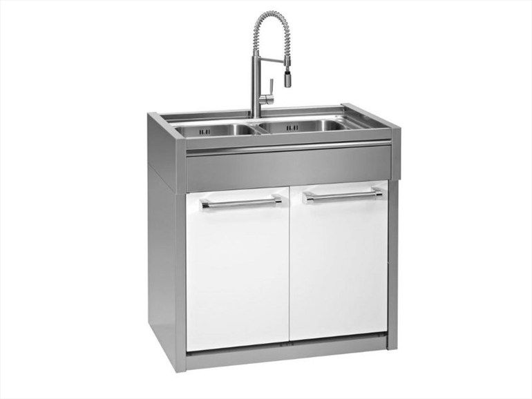 Stainless Steel Sink With Sliding Doors Industrial Kitchen