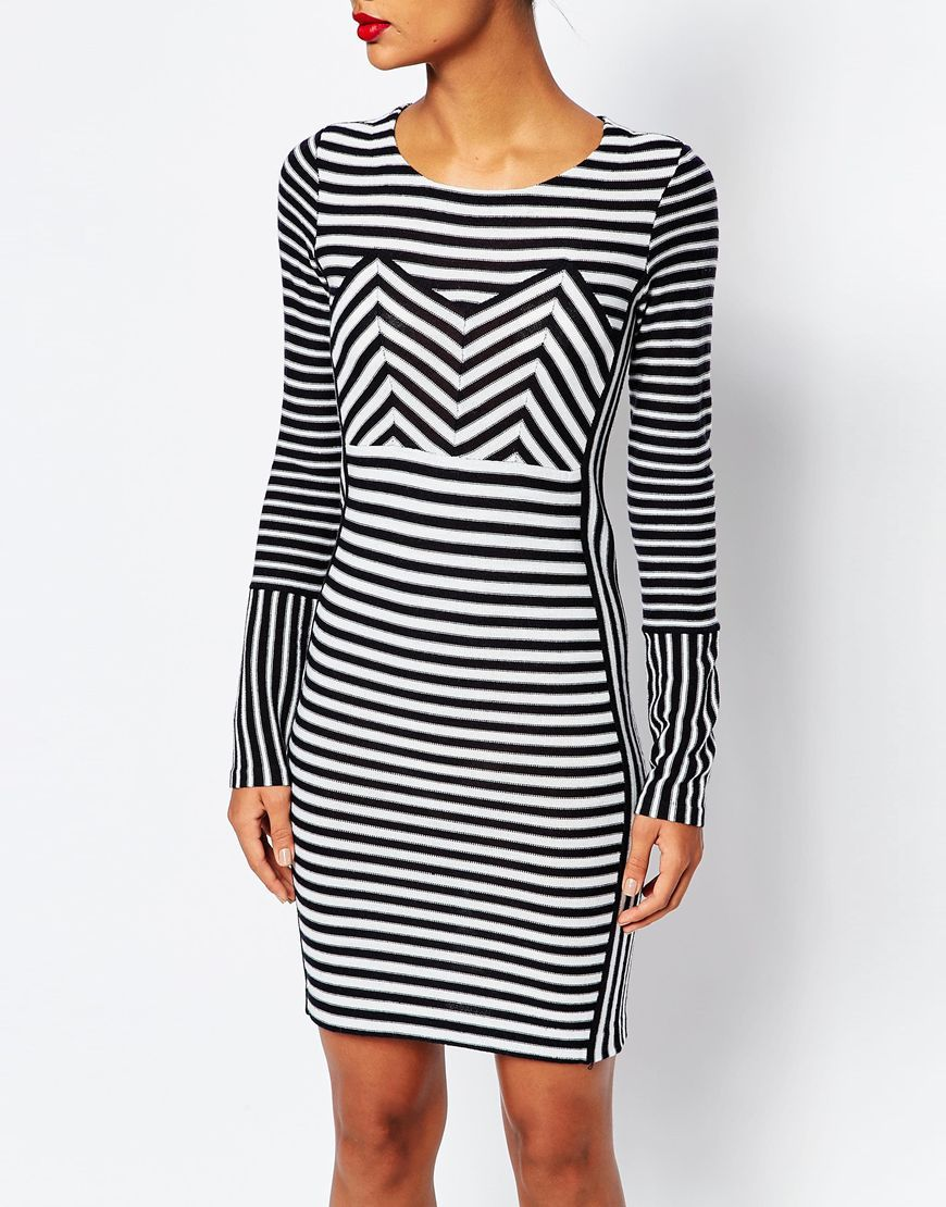 6ced117487 Image 3 of Sonia by Sonia Rykiel Stripe Bodycon Knit Sailor Dress ...