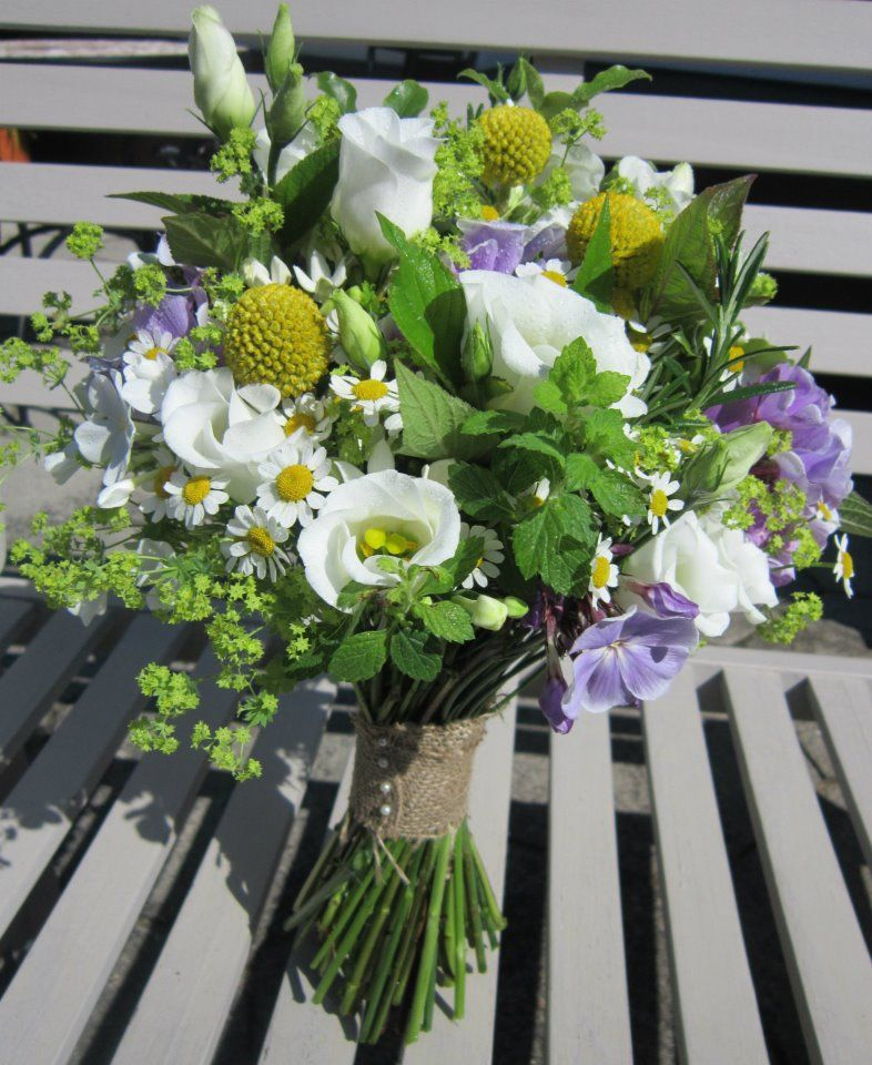 Very Natural Handtied Bouquet With White Lisianthas