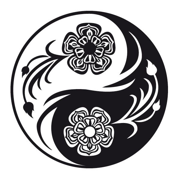 yin yang lotus tattoo lotus yin und yang wandtattoo. Black Bedroom Furniture Sets. Home Design Ideas