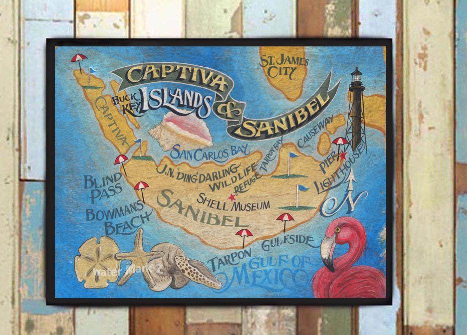Gulf Side Of Florida Map.Sanibel And Captiva Island Florida Beach Map Print From An Original
