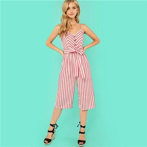 ceecfce53f7b SHEIN Button Accent Wide Leg Belted Cami Jumpsuit Multicolor Spaghetti Strap  Sleeveless Jumpsuit Women Summer Vacation Jumpsuit