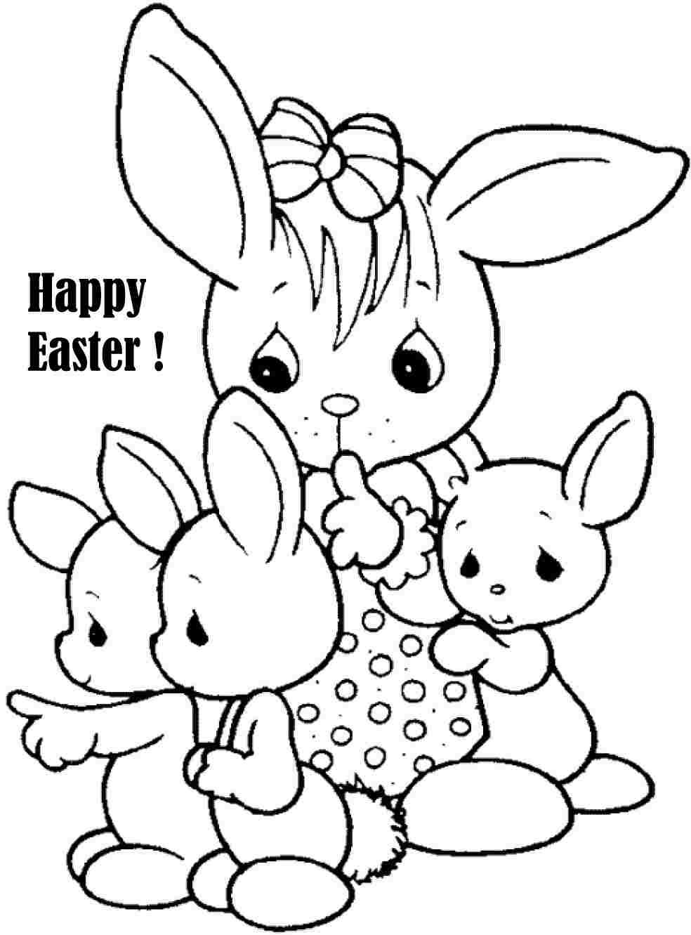Printable Free Colouring Sheets Easter Bunny For Preschool