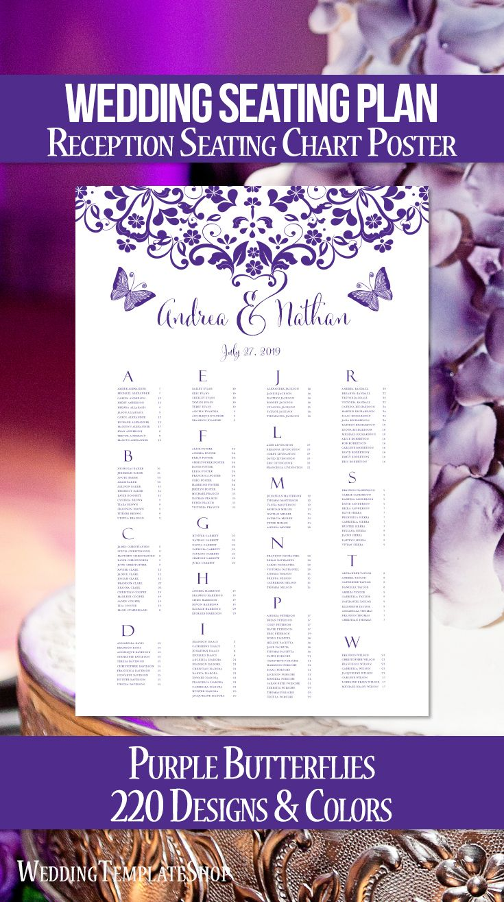 wedding reception seating chart poster template