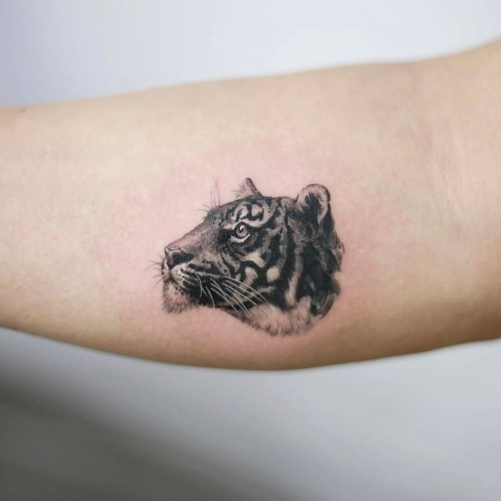 024a87a9b Fine line style tiger head tattoo on the right inner forearm ...