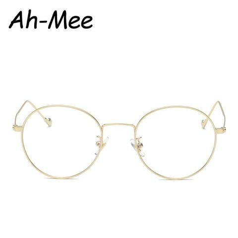 3ceb40de64 Ah-mee Small Oval Nerd Glasses Frames Clear Lens Unisex Gold Round  Metaldresskily