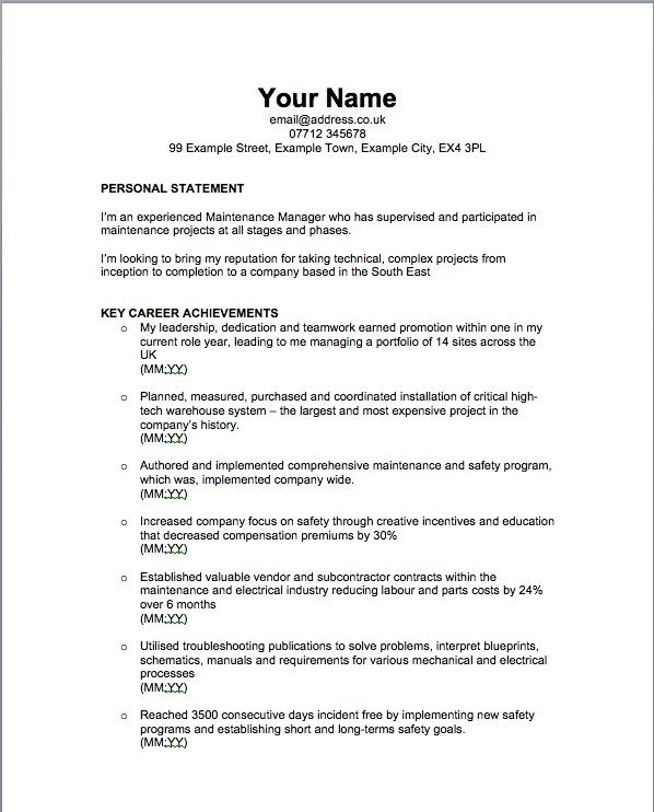 Sample Resume Format For Fresh Graduates One Page Format Example
