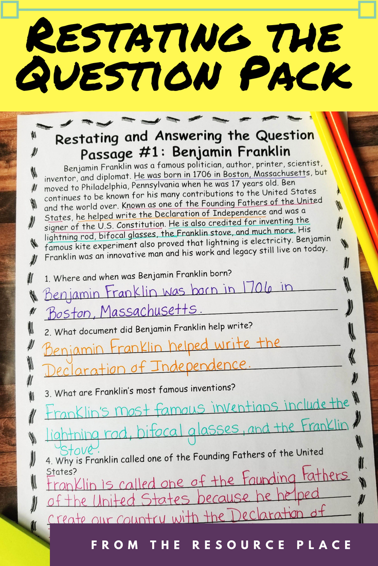 This product will easily help your students practice restating the question  using fiction and nonfiction p…   This or that questions [ 1102 x 735 Pixel ]