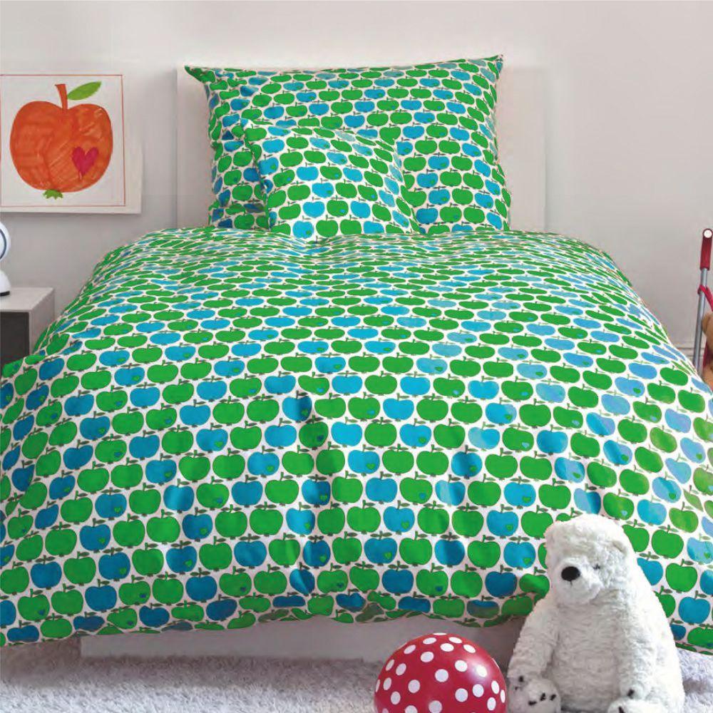 Graziela Kinderbettwäsche 100 X 135 Äpfel Grün Blau Kinder Räume Online Shop Bettwäsche Kinderbettwäsche Bettwäsche Kinder