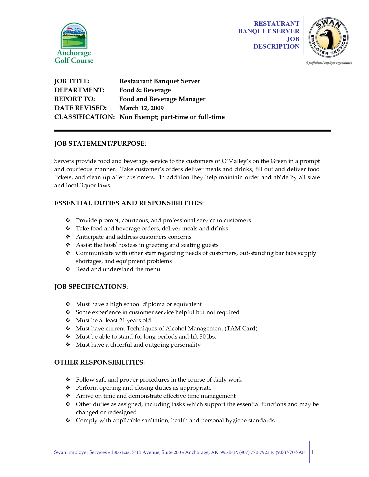 serving job resume examples server description sample