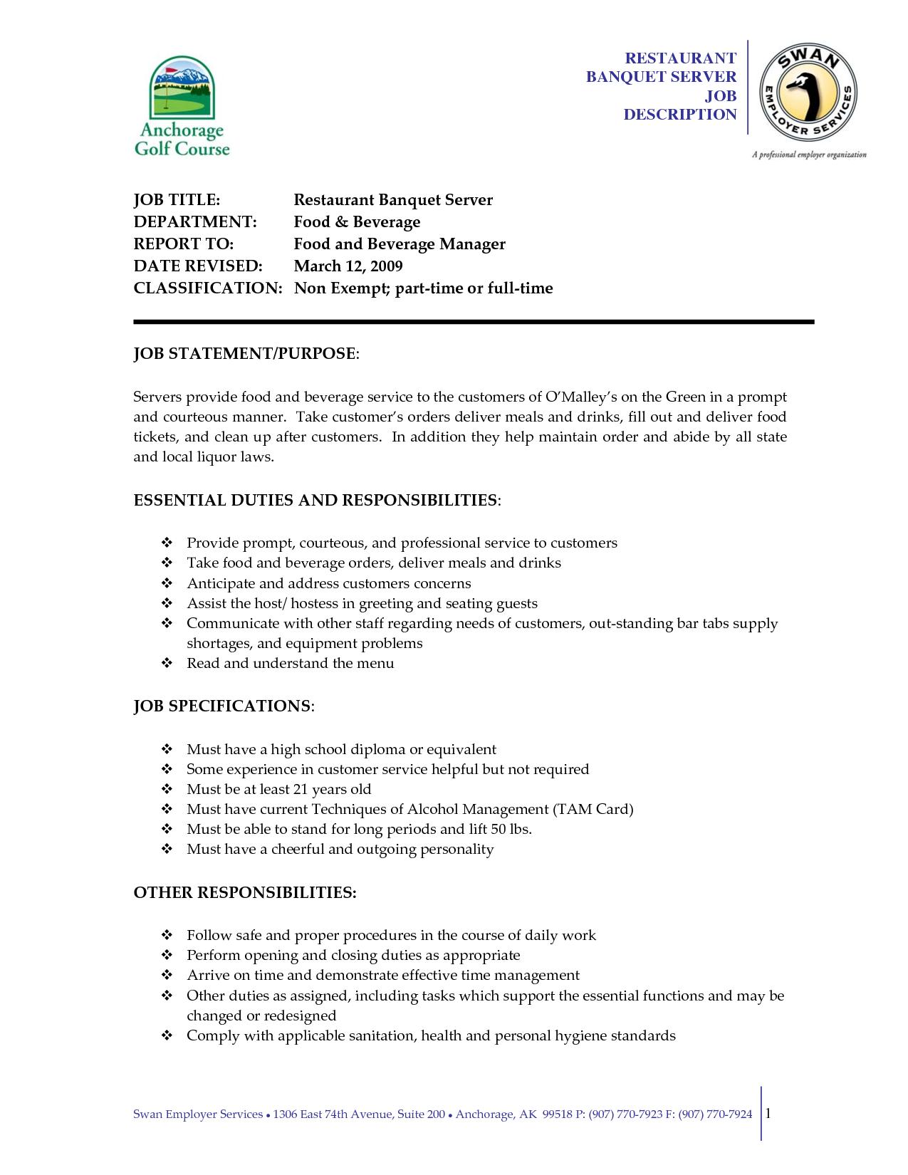 Server Job Description Resume Serving Job Resume Examples Server Description Sample Formatting