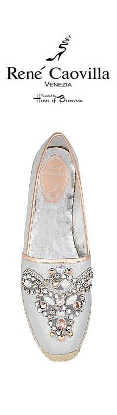 ~Rene Caovilla Crystal - Embellished Silver Suede Espadrille   House of Beccaria#