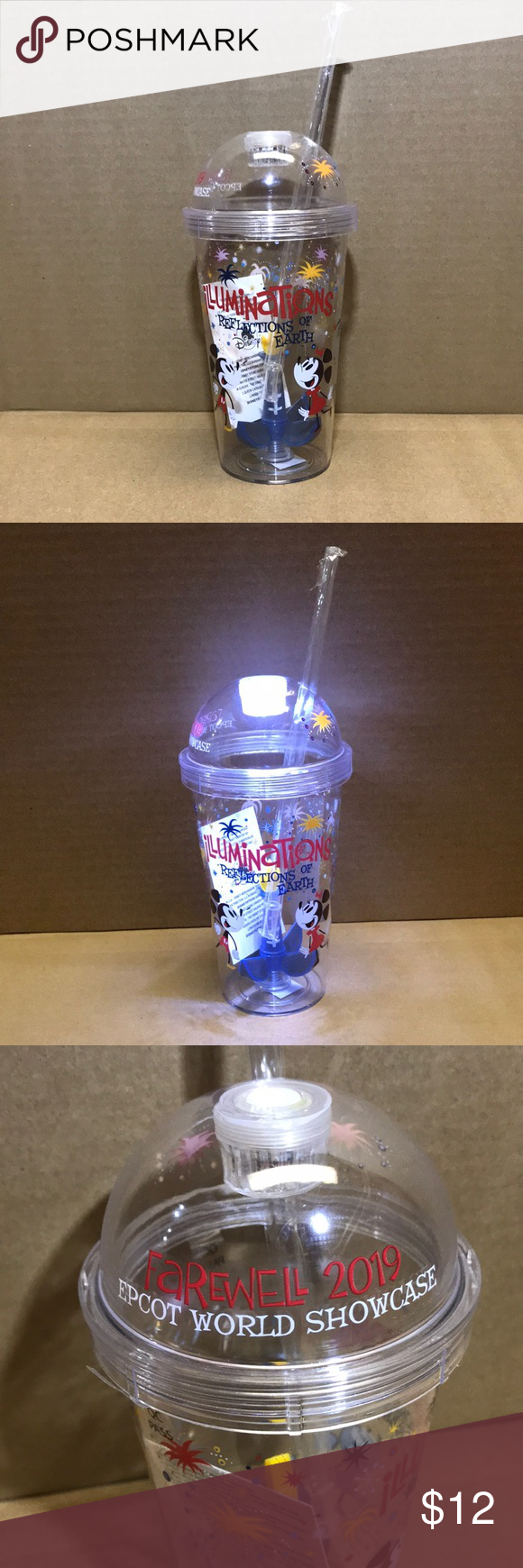 NWT, Disney world showcase tumblr, exclusive item. Disney's illuminations reflections of earth, has left the Disney Epcot park leaving us with a brand new cup to remember the great firework display. Don't miss the chance to own a piece of memorabilia, with working lights too! All packages are packed with love and sweetness. Disney Kitchen Coffee & Tea Accessories #disneykitchen