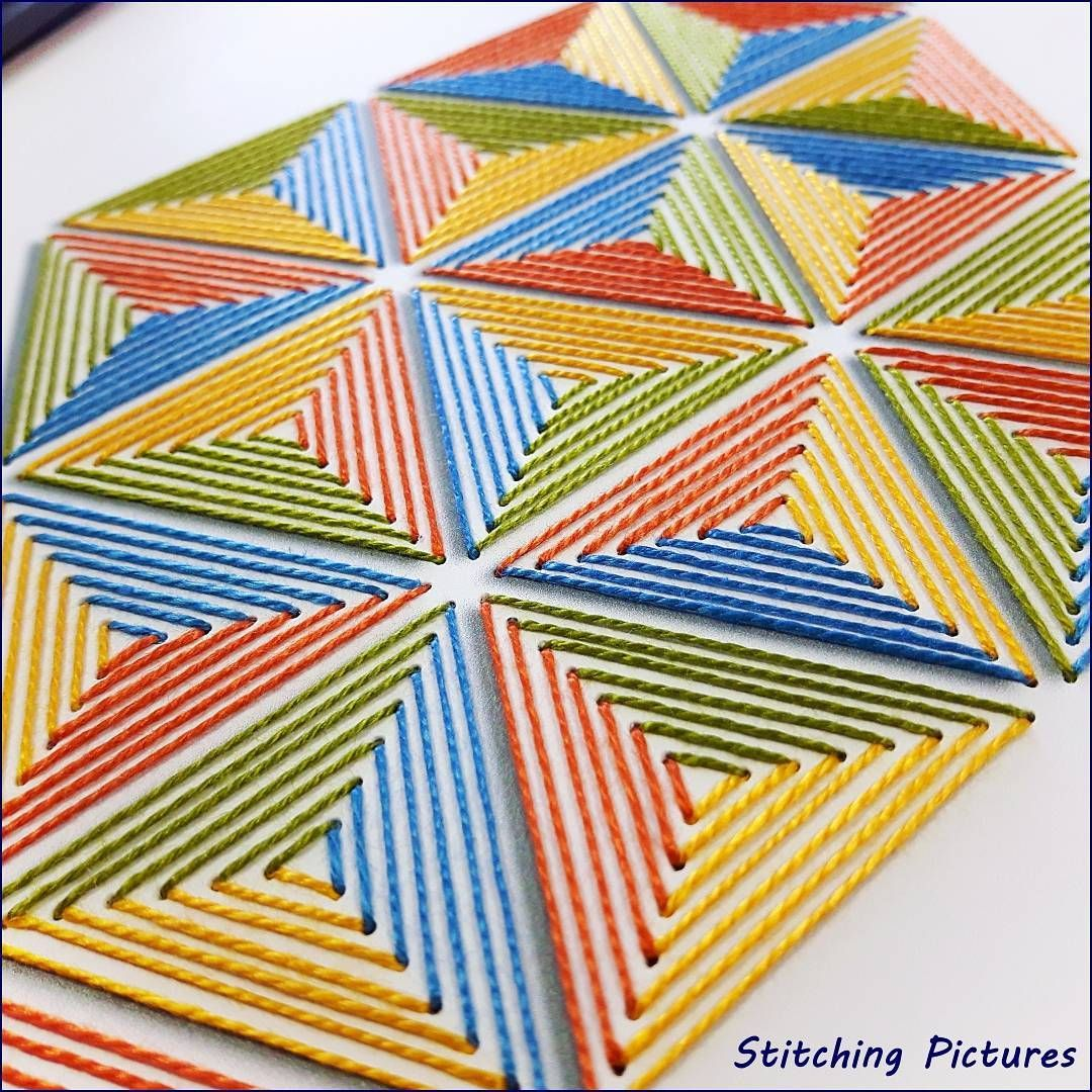 Stitching On Card Paper Embroidery Pattern Of Triangles