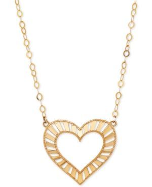 Decorative Heart Pendant Necklace in 10k Gold - Gold