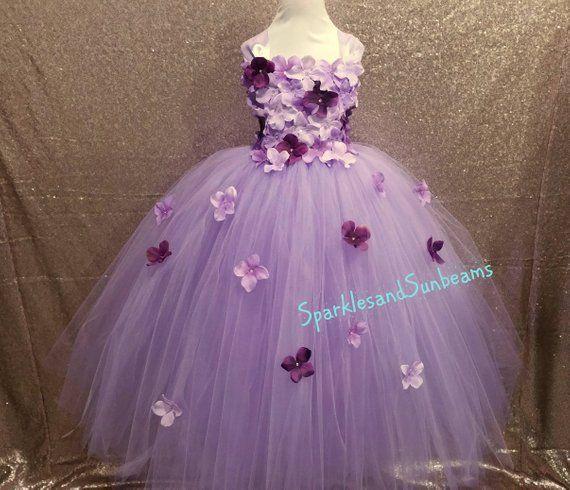 836301f86a1 Lavender   plum hydrangea flower dress  Flower girl dress(Aqua