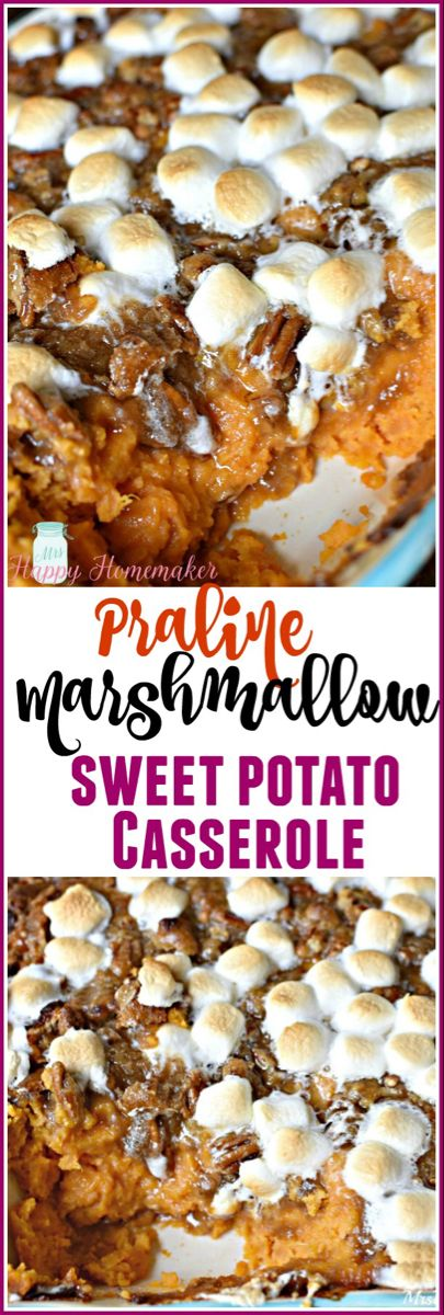 Praline Marshmallow Sweet Potato Casserole - Mrs Happy Homemaker #sweetpotatocasserolewithmarshmallows